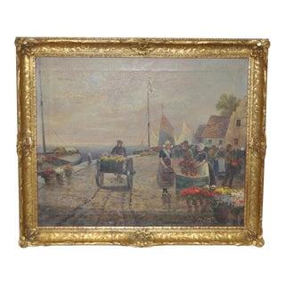 "19th C. Oil Painting ""Dutch Flower Vendors"""