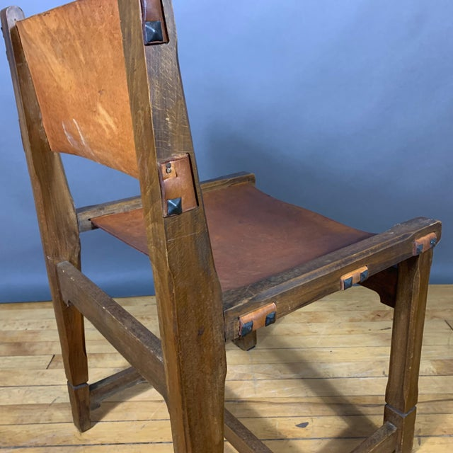Four French 1940s Saddle Leather & Oak Dining Chairs For Sale - Image 11 of 13