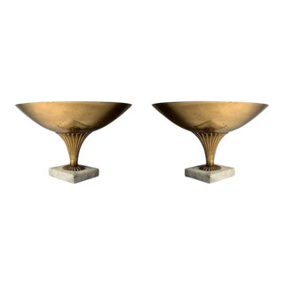 Vintage Italian Brass and Marble Compotes manner of Tommi Parzinger - a Pair For Sale