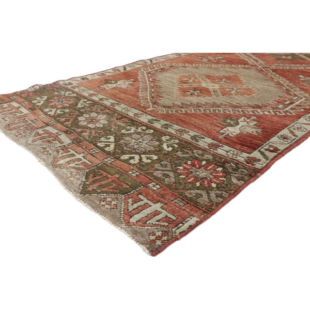 51141 Distressed Vintage Turkish Oushak Runner with Rustic Lodge and Modern Tribal Style, Hallway Runner 03'06 X 13'01....