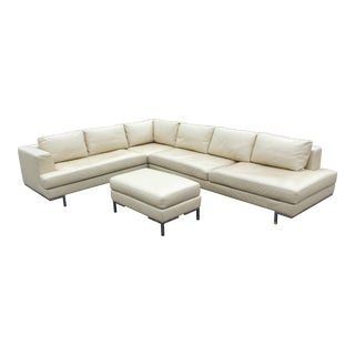 Mid-Century Modern Chrome Base Three-Piece Cream Leather Sectional Sofa