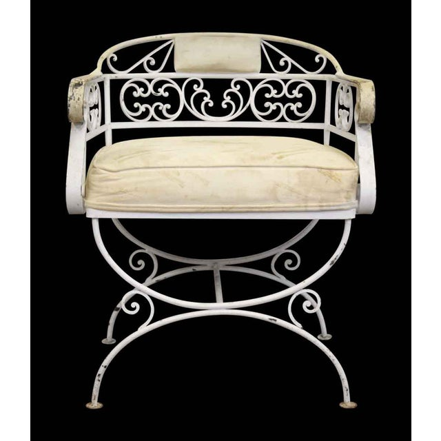 White Metal Cushioned Patio Chair For Sale - Image 4 of 8