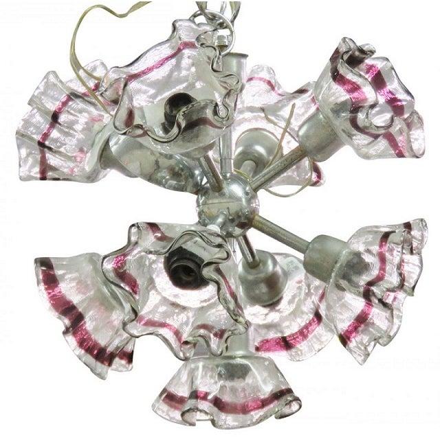 Italian Modern Art Glass & Chrome Chandelier - Image 1 of 4