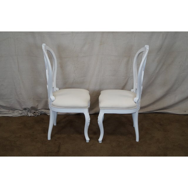 French Style White Dining Chairs - Set of 10 - Image 4 of 7