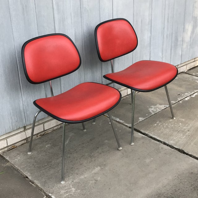 Red 1970s Vintage Eames for Herman Miller Dcm Chairs- A Pair For Sale - Image 8 of 8
