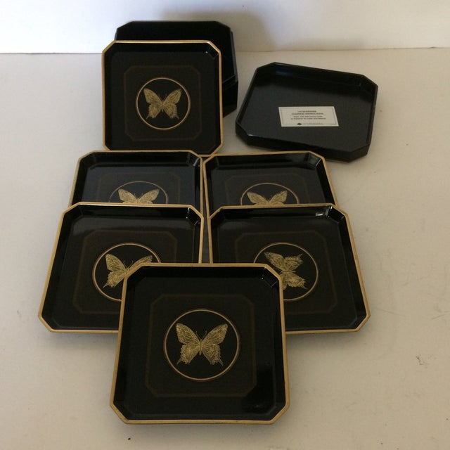 Set of 6 black and gold lacquered butterfly coasters made by Papillon Otagiri of Japan. These are a great set that come in...