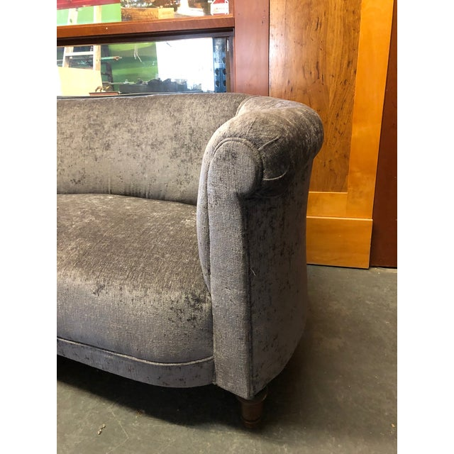 1930s Vintage Jazz Age Reupholstered Art Deco Kidney Shaped Sofa For Sale - Image 4 of 11