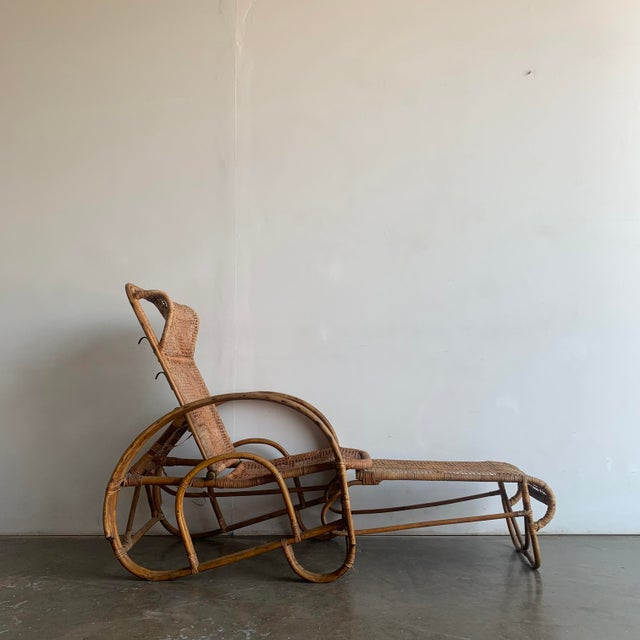 Mid-Century Modern Woven Cane Lounge Chair with Pull Out Foot Rest For Sale - Image 3 of 13
