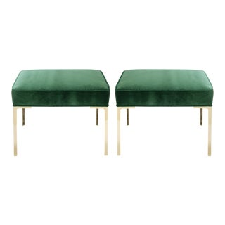 Astor Square Brass Ottomans in Emerald Velvet by Montage, Pair For Sale
