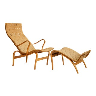 1940s Vintage Bruno Mathsson Pernilla Lounge Chair and Ottoman For Sale