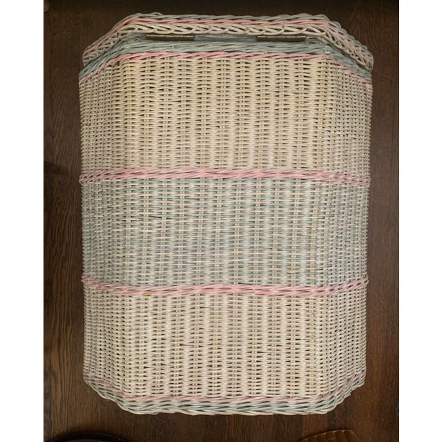 1960s White-Washed Natural, Pink and Mint Striped Octagonal Wicker Clothes Hamper With Braided Trim For Sale - Image 13 of 13