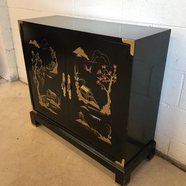 Asian Chinoiserie Style Black Lacquered Cabinet - Image 3 of 9