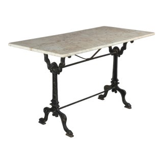 19th Century French Cast Iron Marble-Top Bistro Table For Sale