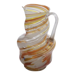 Orange Multicolored Art Glass Drink Pitcher For Sale