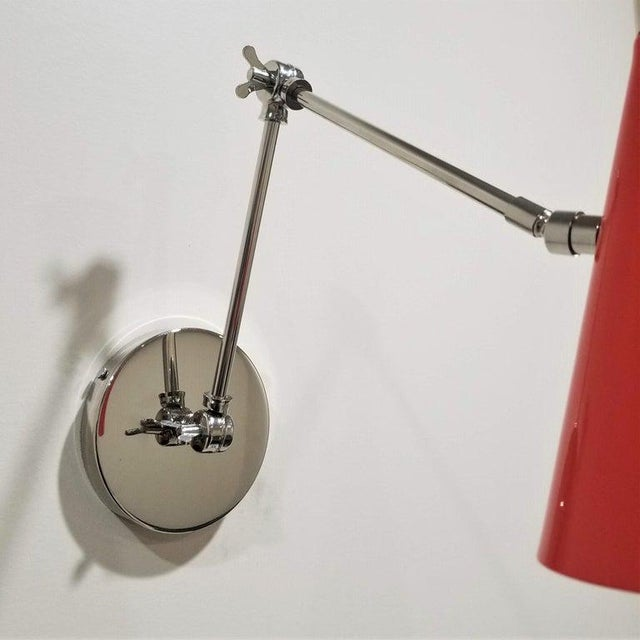 Mid-Century Modern Monolith Reading Lamp in Red Orange and Polished Nickel Sconce For Sale - Image 3 of 6