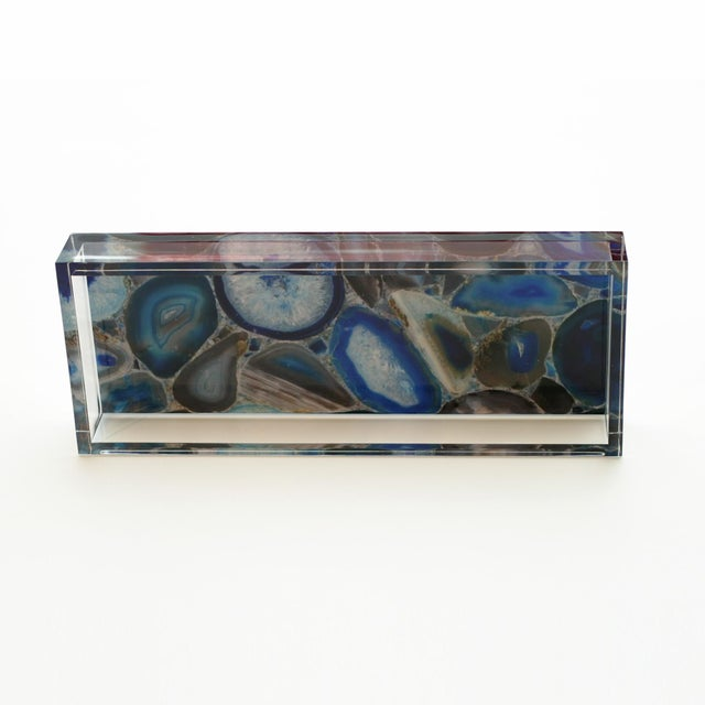 Contemporary Dwm | Maloos Lucite Blue Agate Pattern Tray For Sale - Image 3 of 4