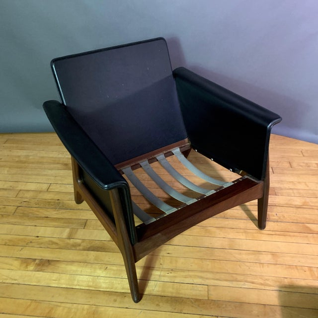Pair Danish Design Black Naugahyde Wrapped Lounge Chairs For Sale - Image 12 of 13