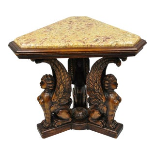 Renaissance Figural Carved Walnut Winged Female Griffin Triangle Side Table For Sale