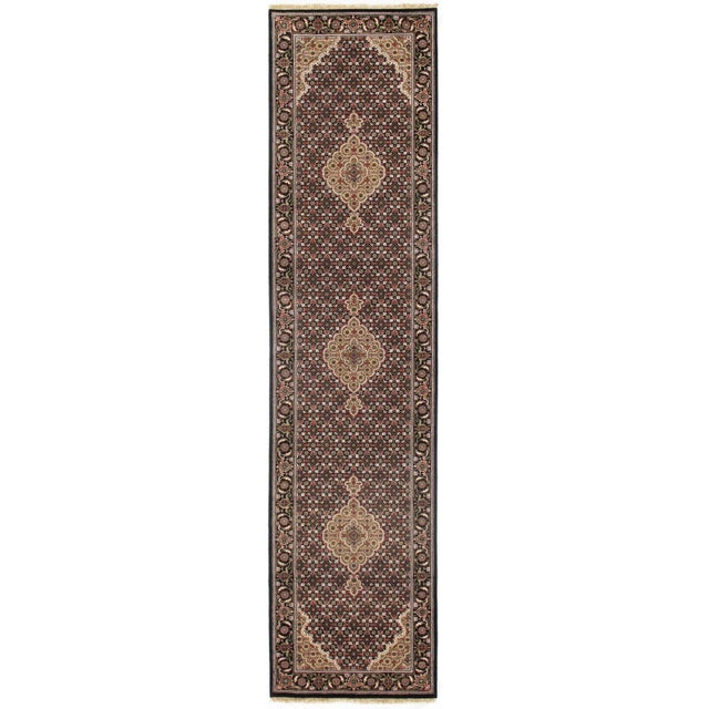 "2010s Pasargad NY Indian Tabriz Mahi Design Silk & Wool Rug - 2'6"" X 10'2"" For Sale - Image 5 of 5"