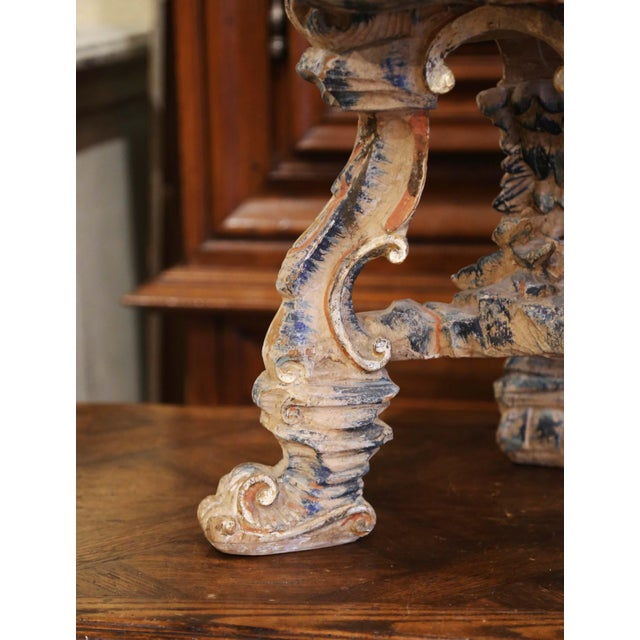 Wood Early 20th Century French Carved Painted and Silver Vanity Chair or Piano Stool For Sale - Image 7 of 13