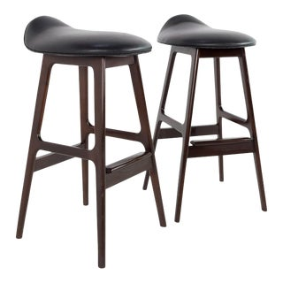 Mid Century Modern Erik Buck Rosewood Bar Stools - A Pair For Sale