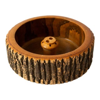 1940s Vintage Circular Wood Nut Bowl For Sale