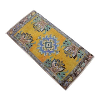 Distressed Low Pile Turkish Yastik Petite Rug Hand Knotted Faded Mat - 1'7'' X 3'3'' For Sale