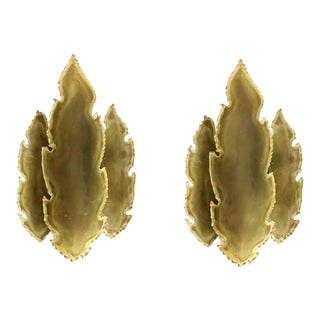 1960's Svend Aage Holm Sorensen Danish Brutalist Torch Cut Brass Leaf Sconces - a Pair For Sale