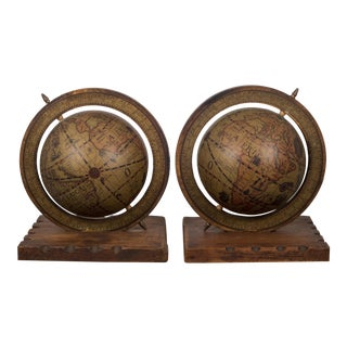 Early-Mid 20th C. Rotating Globe Bookends C. 1940-1950s