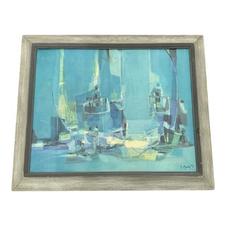 Marcel Mouly Spanish Balcony Abstract Framed Painting For Sale