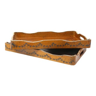 Vintage Leather, Wood and Metal Decorative Trays - a Pair For Sale