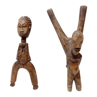 Old African Hand Carved Sling Shots of a Couple For Sale