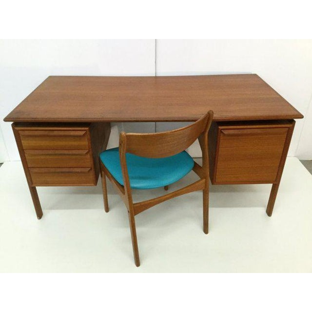 Danish Teak Double Pedestal Desk with Matching Chair For Sale - Image 10 of 10