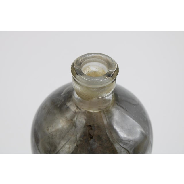 Silver Antique Mercury Glass Apothecary Bottle For Sale - Image 8 of 11
