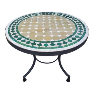 Green / Beige / White Moroccan Mosaic Table For Sale
