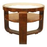 Image of Italian 1940s Burl Walnut Circular Coffee Table For Sale