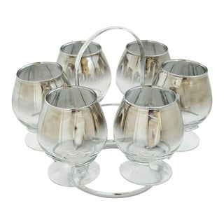 1950's Vitreon Queen's Lustreware Brandy Glass Snifter Set- 7 Piece For Sale
