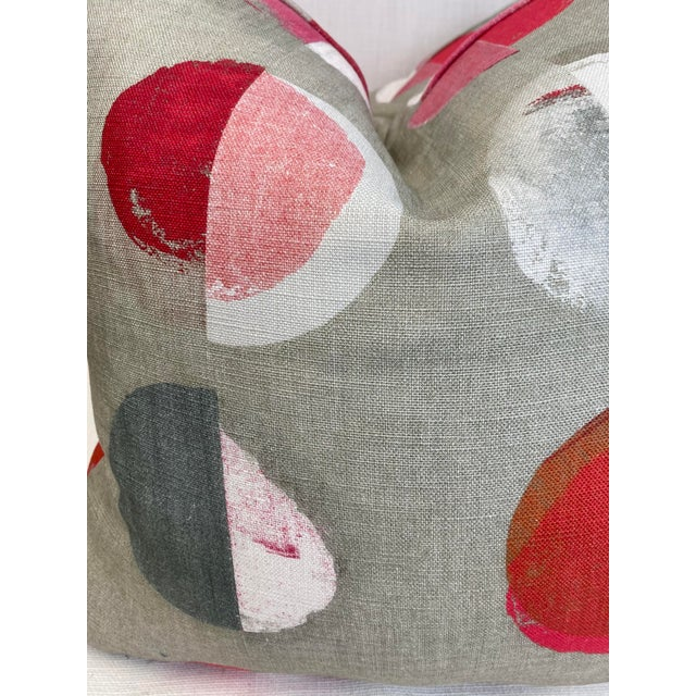 """Jane Churchill """"Olinda"""" in Red 22"""" Pillows-A Pair For Sale - Image 4 of 6"""