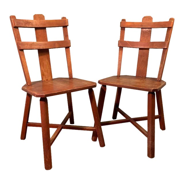 Primitive Pair of Cherrywood Side Chairs in the Manner of Jean Touret For Sale