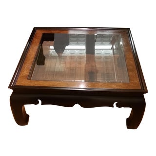 1970s Regency Kang Style Square Wood Coffee Table For Sale