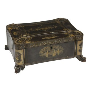19th Century Chinese Export Lacquered Footed Box For Sale