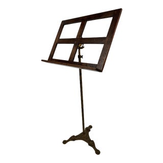 19th Century Traditional Adjustable Cast Iron & Oak Sheet Music Stand For Sale