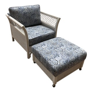 Late 20th Century Vintage Henry Link Modern White Wicker Lounge Chair & Ottoman For Sale