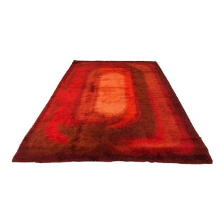 Mid-Century Large Red Rya Rug For Sale