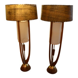 Vintage Mid-Century Modern Pair of Adrian Pearsall Table Lamps For Sale