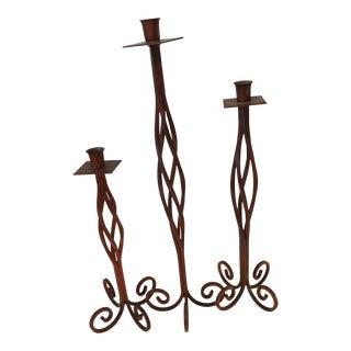Mid-Century Twisted Iron Candlesticks - Set of 3
