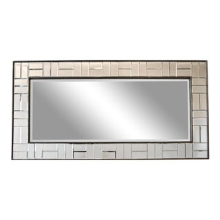 20th Century Rectangular Mirror With Cut-Glass Segmented Beveled Border For Sale