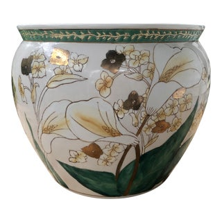 Vintage Chinese Calla Lily Floral Gilt Painted Porcelain Fish Bowl Planter For Sale
