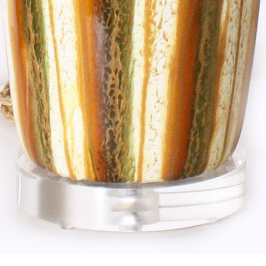 1970s Pair of Yellow and Green Ceramic Drip Glaze Lamps, C. 1970 For Sale - Image 5 of 8