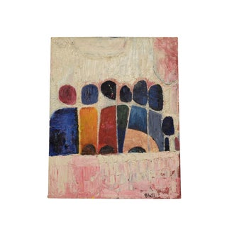 """Abstract Painting Signed """"Shell"""", Mid Century Modern For Sale"""